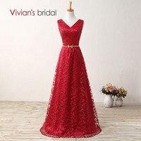 Vivian's Bridal A Line Wedding Gown Double V Neck Beads Sequin Lace Zipper Back Evening Dresses Long E2204