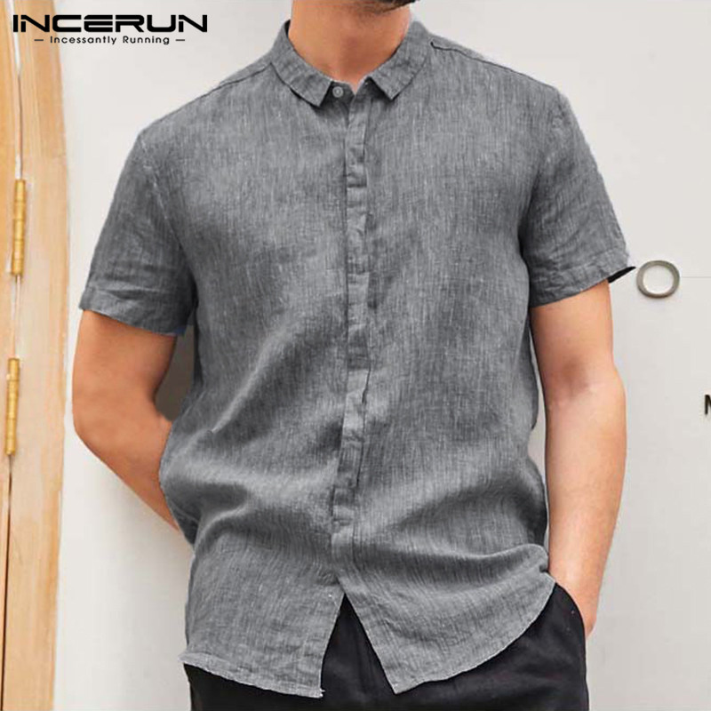 INCERUN Men Shirt Loose Fit Lapel Neck Short Sleeve Vintage Solid Color Streetwear Casual Brand Shirt Men Camisa Social 2019 5XL