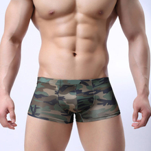 New 2017 Boxer Shorts Man Milk Silk Fashion Underwear Men Camouflage Bulge Pouch Sexy Underpants Male