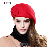 2018 New Floral Hat Women Beret Hat For Women Beanie Female Cap Flower French Trilby Wool