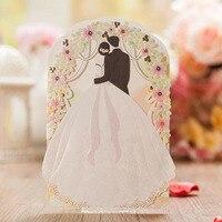 10 יחידות כלה וחתן כרטיס הזמנות לחתונה לחתוך לייזר אישית מותאם אישית & מעטפת & חותמות ספקי אירוע & מפלגה
