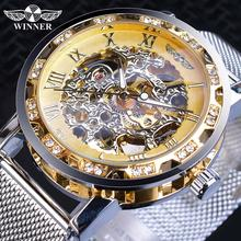 Winner Casual Mechanical Watches For Men Golden Roman Fashion Stainless Steel Belt Mesh Strap Wristwatch Clock Relogio Masculino