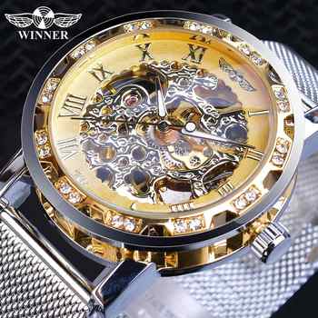 Winner Casual Mechanical Watches For Men Golden Roman Fashion Stainless Steel Belt Mesh Strap Wristwatch Clock Relogio Masculino - DISCOUNT ITEM  0% OFF All Category