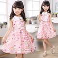 2017 summer style children's clothing girls short sleeve dress white o-neck wear sashes flower dress party dress free shipping