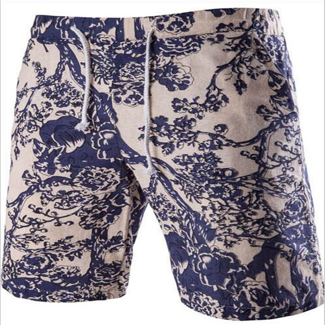 MEBOSYA 2016 Summer Beach Style Men Linen Floral Shorts Men Casual Slim Fit Straight Boardshorts Brand Shorts Shorts Size:XL 2XL