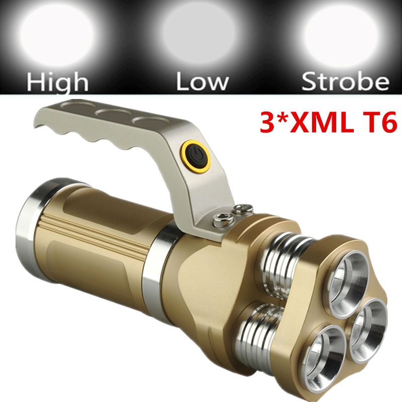 New LED Tactical Flashlight 6000LM 3x XM-L XML T6 LED Rechargeable Self Defense Flash Torch light lamp +3x18650 Battery+Charger