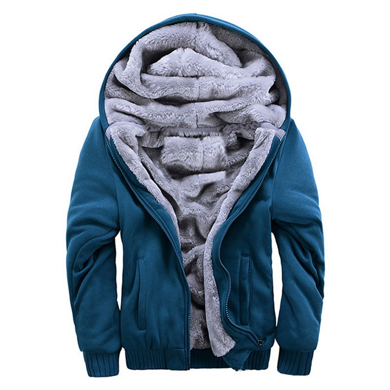 Oeak Mens Fashion Winter Thickened Warm Coats 2019 New Zipper Hooded Fleece Long Sleeves Jacket Male Solid Color Casual Parkas