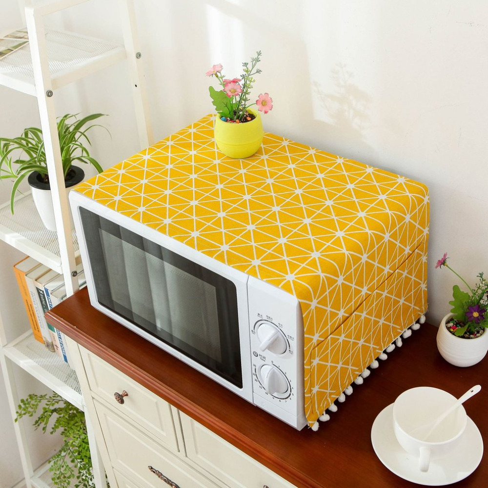 2017 Modern Style Linen Cover Microwave Dust Proof Cover Microwave Oven Hood Home Decor Microwave Towel With Pouch Home Supply