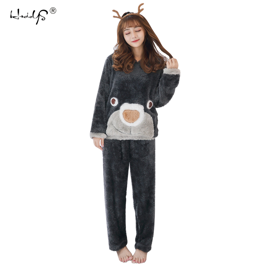 2018 Winter Thick Warm Flannel Pajama Sets Cartoon Pyjamas Women Homewear Animal Sleepwear Female Pajama