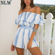 0bae80f3052 NLW White Blue Striped Overalls Off Shoulder Summer Bodysuit 2018 Women  Backless Sexy