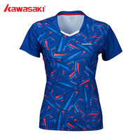 2019 Kawasaki Badminton Shirt Women Tennis shirts V Neck Breathable Blue Color Badminton Sport T shirt ST S2112