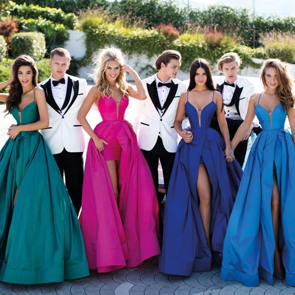 2019 Royal Blue Satin Evening Dress Long Sexy V Neck Green Front Slit Formal Wedding Party