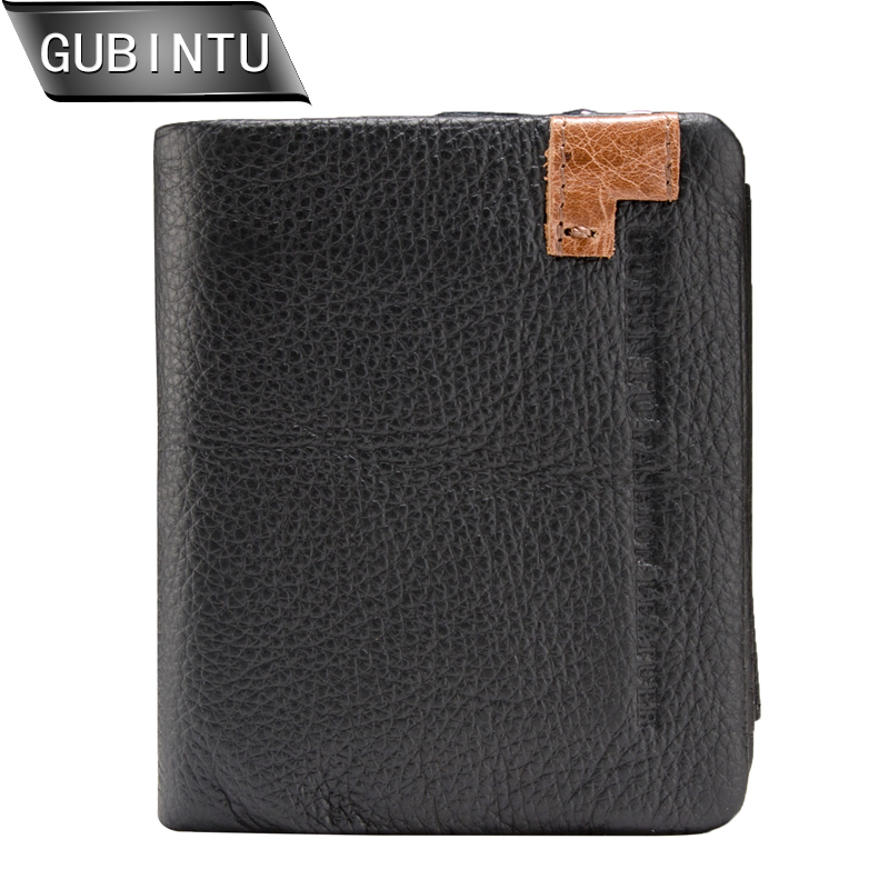 GUBINTU New Design Men Wallets Fashion Card Holder Trifold Wallet Man Genuine Leather With Zipper Coin Pocket Purse carteira contact s genuine cowhide leather men wallet trifold wallets fashion design brand purse id card holder with zipper coin pockets