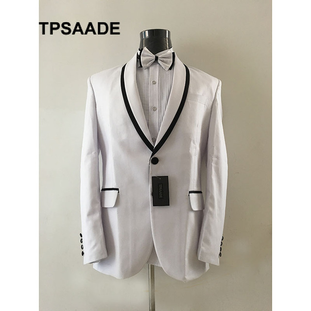 Real Photo White Tuxedo Prom Mens Suits Groommen Suit Slim Fit 2017 ...