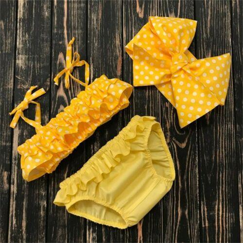3PCS Summer Kids Baby Girl Polka Tankini Skirt Bikini Swimsuit Bathing Suit Beachwear Swimwear Biquini