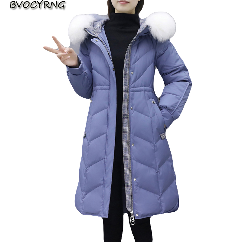 New Winter   Down   jacket for Women Parkas 2019 Thicken Warm Long   Coat   Female Plus size Fur collar High end White Duck   down     Coats