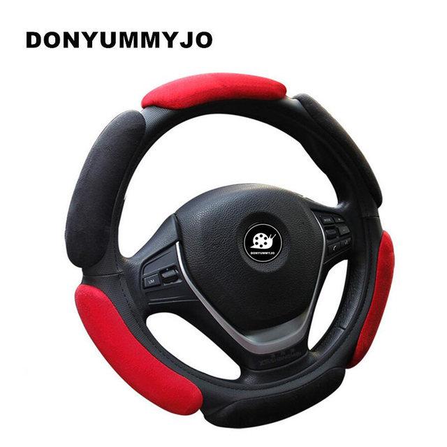 DONYUMMYJO 10 цветов 3D замшевая крышка рулевого колеса автомобиля воздухопроницаемость противоскользящие подходит для большинства автомобилей Стайлинг крышки рулевого колеса