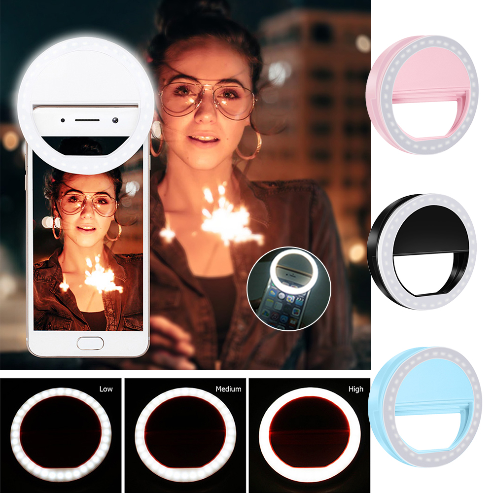 Universal Selfie LED Ring Flash Lumiere Telephone Portable LEDS Selfie Lamp Luminous Ring Clip For Cell Phone Smartphone