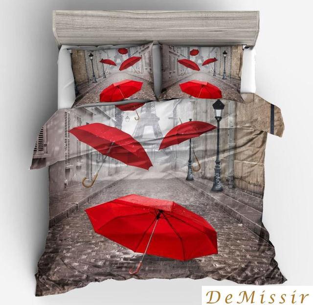 3D Red Umbrellas Eiffel Tower Street Pattern Sanding Soft Polyester Duvet Cover Set 2/3Pcs Set Bedding Sets housse de couette