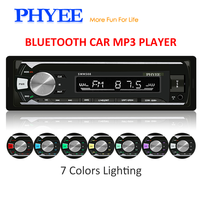 1 Din Car Stereo Bluetooth Radio Audio MP3 Player Handsfree USB SD FM A2DP Remotes Multicolor Lighting ISO Head Unit PHYEE 508 image