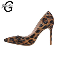 GENSHUO 2017 Sexy Wild Leopard PU Stiletto High Heels Pumps Pointed Toe Woman Shoes Customize Heel
