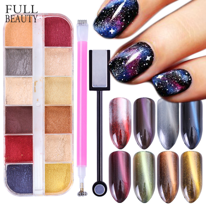 3D Nail Glitter Powder Cat Eye Effect Magic Mirror Dust With Dualended Strong Magnet Stick For Nail UV Gel Polish Tools CH813-2