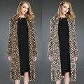 2017 Hot Women's Fashion Leopard Faux Fur Coat Overcoat Lapel Long Sleeve X-Long Outerwear Loose Jackets Cardigan Manteau W078