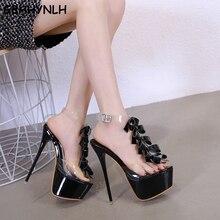 GBHHYNLH party heels sandal High Heel Platform Shoes Wedding black strap sandals Peep Toe Thin Heel Dress jelly sandals LJA703 цена 2017