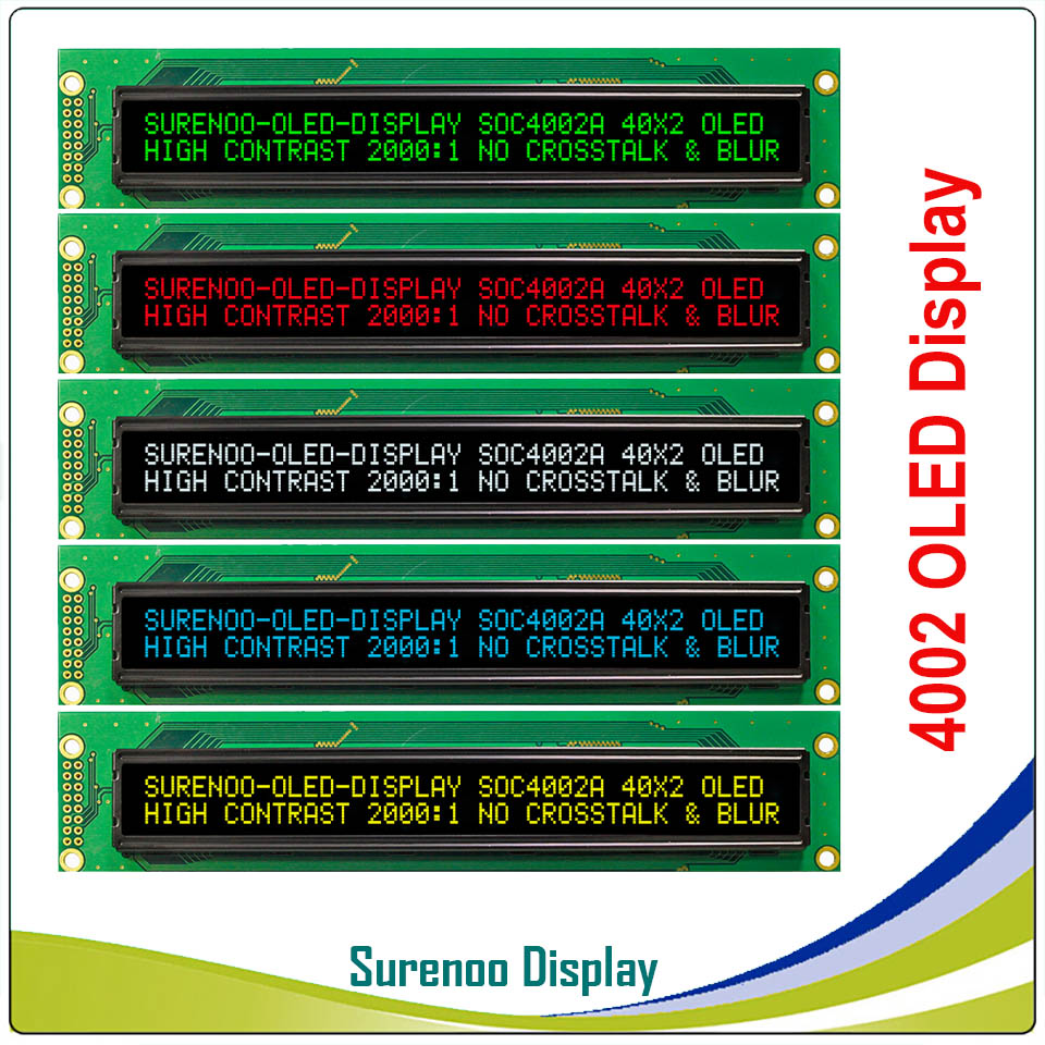 Real OLED Display, 4002 Parallel OLED Compatible 402 40*2 Character LCD Module Display LCM Screen Build-in WS0010, Support SPI