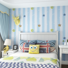 Children Room Wallpaper Blue Vertical Stripes Cartoon Stars Environmentally Non-woven Boy Girl Bedroom Wall Paper Roll цена 2017