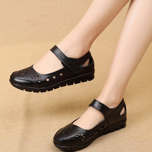 Image 3 - GKTINOO 2019 Fashion Genuine Leather Summer Shoes Woman Flats Low Heel Hook&Loop Hollow Out Leather Soft Flat Shoes For Ladies