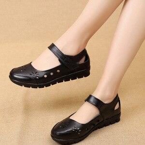 Image 3 - GKTINOO 2019 chaussures dété en cuir véritable pour femme chaussures plates à talons bas avec crochet et boucle en cuir souple chaussures plates pour dames