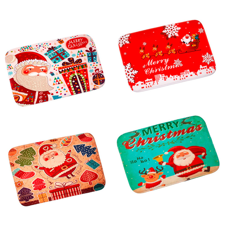 FENGRISE Merry Christmas Door Mat Santa Claus Flannel Outdoor Carpet Christmas Decorations For Home Xmas Party Favors New Year 14