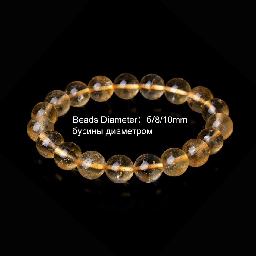 6-10mm Crystal Citrine Bracelets Natural Stone Bracelets For Women  as a gifts Yellow Friendship Beads Bracelet Charms Jewelry