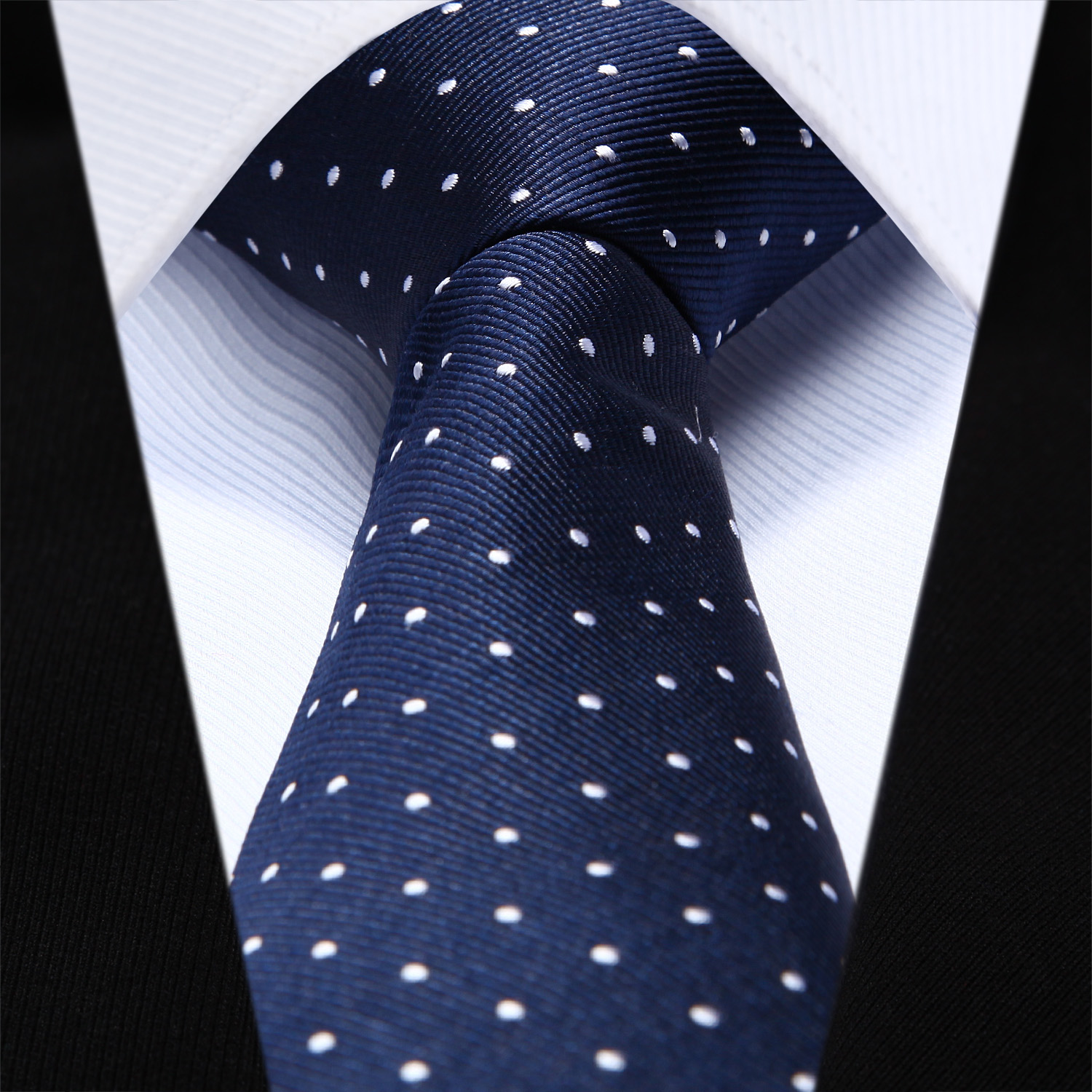 "Party Wedding Tie TZD02V6 Navy Blue White Dot Slim Narrow 2.6"" 100% Natural Silk Men Tie Necktie"