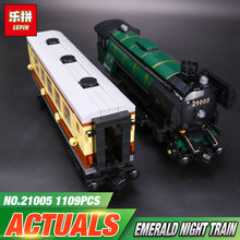 LEPIN 21005 series the Emerald Night model building blocks set Classic compatible Steam trains Toys Christmas