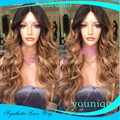 Free Shipping heat resistant hair wig two tone ombre color glueless black blond natural Curly synthetic lace front wig