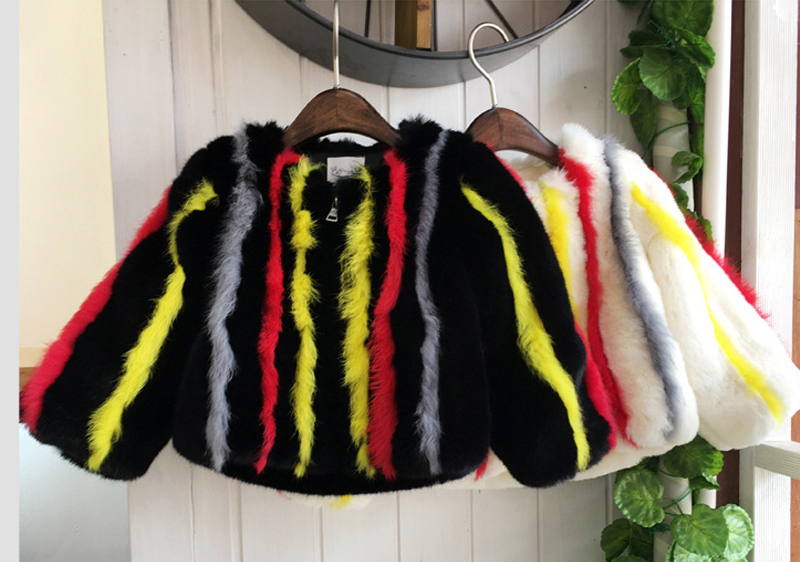 fashion brand winter girls Faux fur Coat striped rainbow Cotton Padded overcoat Jacket little girl Faux Fur Clothing 2-7years