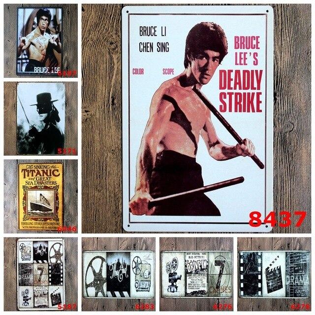 Película Bruce Lee Zorro lata del Metal firma art decor Home Bar ...