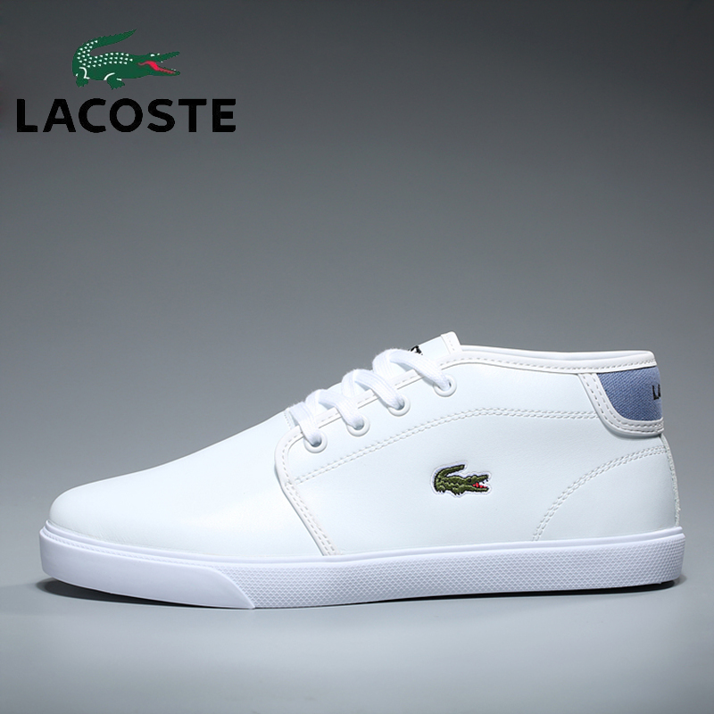 Lacoste Women's Outdoor Skateboarding Shoes High-tops Soccer Tennis Walking Shoes White Leather Sneakers Sports Athletic Boots nike men s indee high shoes athletic sneakers leather white