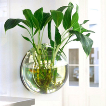 ФОТО pot plant wall mounted hanging aquarium transparent acrylic fish bowl fish tank flower plant vase home decoration