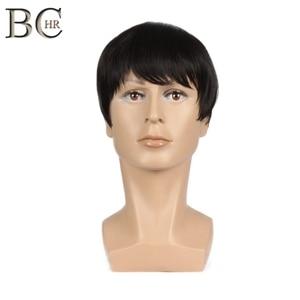 Image 5 - BCHR 8 بوصة قصيرة مستقيم بيروكات صناعية للرجال الطبيعي الأسود الذكور شعر مستعار ألياف مقاومة للحرارة الشعر المستعار شعر مستعار