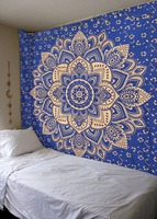 Wall Tapestry Printed Lotus Mandala Hanging Tapestries Bohemia Home Decoration Hippie Beach Towel Yoga Mat Pink Blue Table Cloth