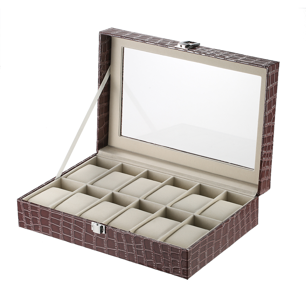 Luxury 12 Slot Watch Box Organizer Glass Top PU Leather Watch Display Case for Men/Women with Pillows Crocodile-Like Texture litchi texture pu pc horizontal flip leather case for galaxy note 9 with with card slot black