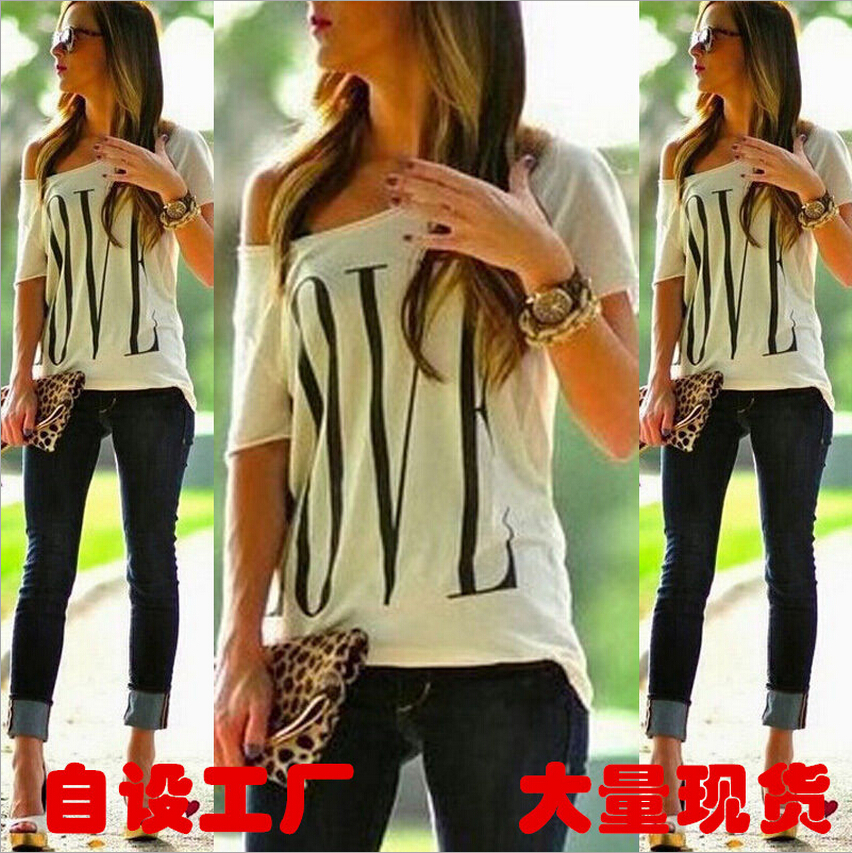 free shipping Lady tee loose LOVE letters printed t-shirts