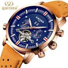 KINYUED Mens Relógios Top Marca de Luxo Automáticas Homens Mecânicos do Relógio Esqueleto Turbilhão Perpétuo Calendário Relogio masculino