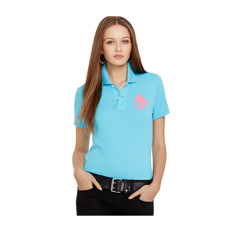 Big Horse embroidery Logo Women Polo Shirts Short Sleeve Shirts Casual Women Shirts Women Tops Cotton Women Tees Female Shirts