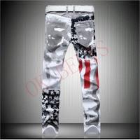 2018 Men Casual American USA Flag Printed Jeans Pants Mens Graffiti Print White Hip Hop Fashion