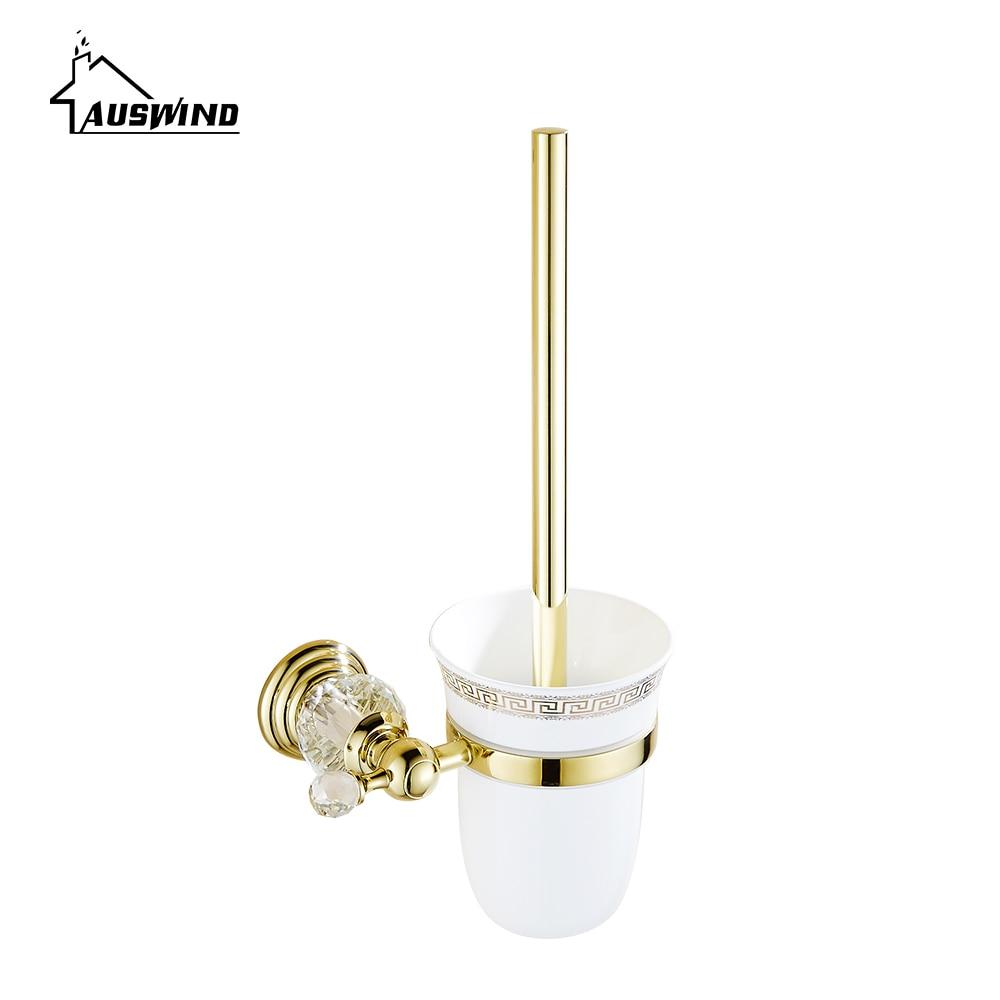 High Quality Crystal Decoration Gold Brass Toilet Brush Holders Bathroom Shelf Accessories high quality crystal decoration gold brass toilet brush holders bathroom shelf accessories