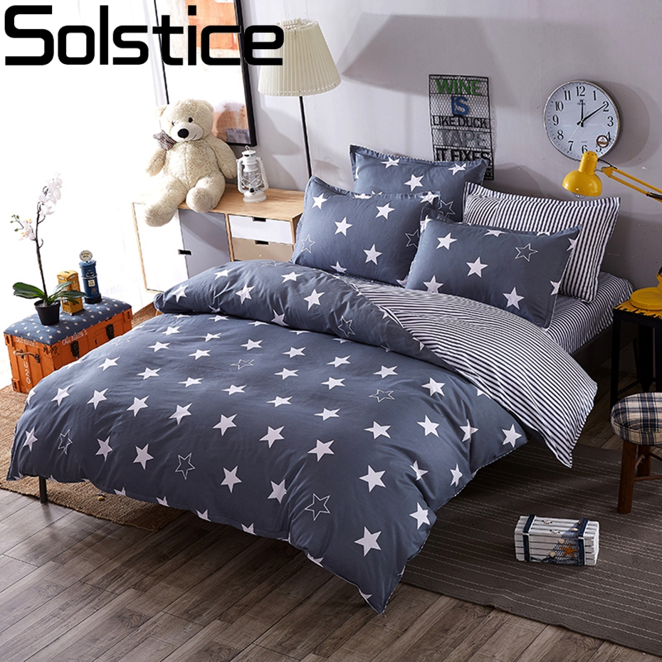Solstice Home Bedding Sets White Star Clouds Plaid Twin/full/queen/kingsize Duvet Cover Sheet Pillowcase Bed Linen Bedclothe 50Solstice Home Bedding Sets White Star Clouds Plaid Twin/full/queen/kingsize Duvet Cover Sheet Pillowcase Bed Linen Bedclothe 50